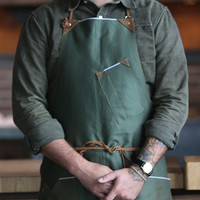 Japanese Selvedge Canvas Work Apron, Green