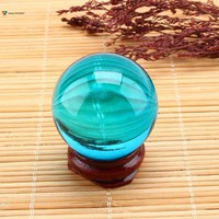 Crystal Sphere Glass Sphere Asian Rare Natural Quartz Sea Blue Magic Crystal Healing Ball Sphere 40mm +Stand For Home Decoration