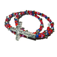 Pink, Purple and Coral Wrap Crystal Cross Bracelet