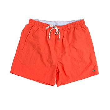 Dockside Swim Trunk in Neon Coral by Southern Marsh