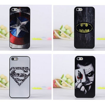 [Free Shipping] New Superman Batman Captain America Case Cover Iphone 5 5G 5S