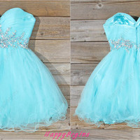 Short turquoise beaded backless prom dress/ cocktail dress/ prom dress 2014