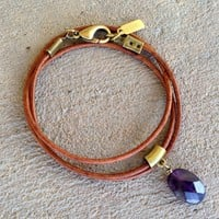 Emotional Healing, Greek Leather Wrap Bracelet Or Necklace with Faceted Amethyst Pendant