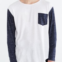 Feathers Long-Sleeve Drop-Tail Pocket Tee-