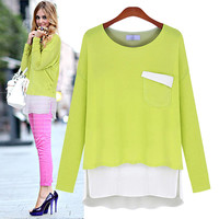 Block Long-Sleeve Layered Blouse With Pocket