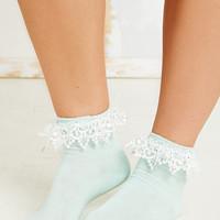 Lace Trim Ankle Socks in Mint - Urban Outfitters