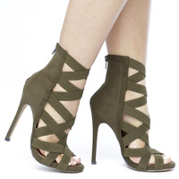 CAGNEY CAGED SUEDE BOOTIE -  OLIVE