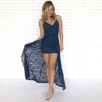 Love Language Navy Blue Lace Maxi Dress