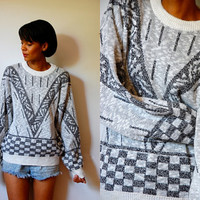 Vtg Grey Abstract Checkered Print White Knitted Sweater