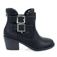 Jem2 Black Pu By Soda, Girl's Ankle Booties On Block Stack Heel & Floral Cutout. Children Kids