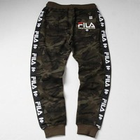 Fila x Aape co-branded tide brand men and women camouflage letter printed sports pants
