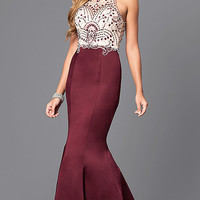 Long Beaded Bodice Prom Dress with Back Cut Outs