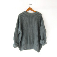 vintage sage green sweater. chunky knit sweater. loose knit sweater. basic sweater.