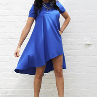 Short Sleeve Swing T-Shirt Dress with Dipped Back Hem in Cobalt Blue