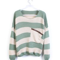 Green Striped Bat Long Sleeve Sweater