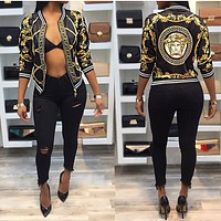 Versace Fashion Long Sleeve Zipper floral print jacket worn by women in the fall coat