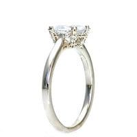 Cushion Moissanite Engagement Ring 14K Pave Diamond Solitaire Conflict Free Custom Bridal Jewelry