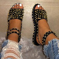 Women's Sandals Rivet Flats Cool Ladies Ankle Buckle Strap Punk Shoes Female Plus Size  Fashion New Woman Hot