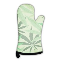 Oven Mitt, Green Hemp Floral Cannabis Leaf Marijuana Leaves Illustration