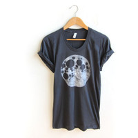 Full Moon - Hand Stenciled Scoop Neck Rolled Cuffs Tee in Asphalt Grey - S M L XL 2XL 3XL