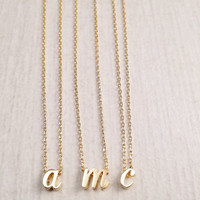 SALE Gold Letter Necklace, Gold Lower Case Initial Necklace, Personalised Jewellery, Gold Plated Necklace, Name Necklace, Gift Idea