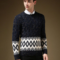 Navy Plus Size Snowflake Cable Knit Sweater