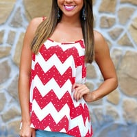 Fool For You Chevron Top: Red | Hope's