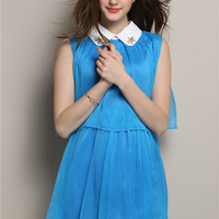 Sleeveless Peter Pan Collar Pleated A-Line Mini Dress