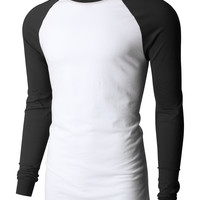 LE3NO PREMIUM Mens Raglan Long Sleeve Baseball Crewneck T Shirt