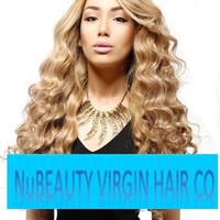 Custom Colored Peruvian Wavy Ashy Blonde Wig 24 Inches