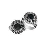 """AR-6147-OX-10"""" Sterling Silver Round Shape Designer Ring With Black Onyx"""