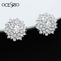 Bling Pave Crystal Ear Clip on Earrings for Women with Colored Stones Clip Earrings without Piercing for Girls