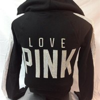 """VICTORIAS SECRET """"LOVE PINK"""" WHITE SEQUIN BLING ZIP UP HOODIE BLACK SMALL NEW"""