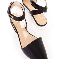 Black Ankle Strap Pointed Toe Flats Faux Leather
