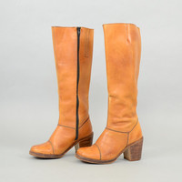 70's Bohemian BROWN Leather Boots US 6.5