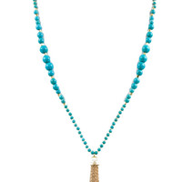 Beaded Tassel Necklace in Turquoise