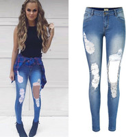 Sexy big ripped hole tassels bleached full length skinny jeans