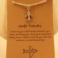 Safe Travels Necklace: Safe Travels Airplane Charm Necklace, Airplane, Traveling, Traveller, Safe Travels, Wish Necklace, Wish Jewelry,