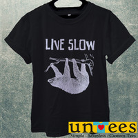Sloth Hanging Live Slow Die Whenever Men T Shirt