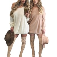 Off Shoulder Sweater Dresses Women Sweater  Fall Sweater Dress Buy Now