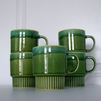 Drip Glaze VINTAGE MID CENTURY Stacking Coffee Mug Set - Stackable - Ceramic -Avocado Green & Teal Blue 1960s Retro Kitchen Vintage Serving