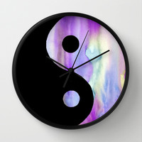 Purple Yin Yang Watercolor Wall Clock by Riet8995
