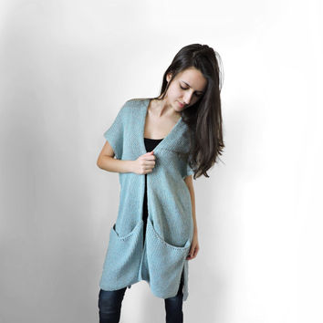 FREE SHIPPING Hippie long knit vest Huge pockets Cotton light blue vest with short sleeves Blue knit summer long vest Light summer wear Boho