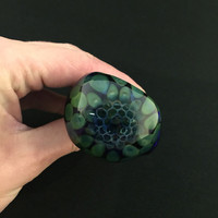 Apprentice Cobalt Glass Silver Fumed Honeycomb Pattern Tobacco Spoon Pipe