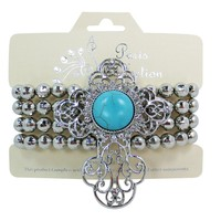 Western Country Love Turquoise Cross with Faceted Round Ball Beads Bracelet