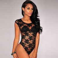 Hot Deal Cute On Sale Sexy Lace Embroidery Hollow Out Zippers Design One-piece Set Exotic Lingerie [6596489667]
