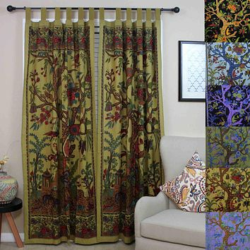 Tab Top Cotton Curtain Floral Tree of Life Drape Door Panel 44x88 inches