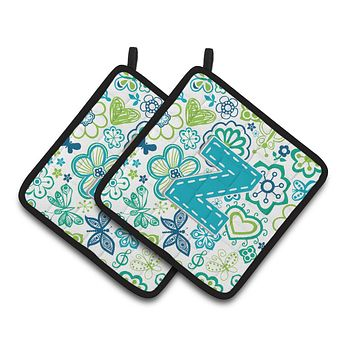 Letter Z Flowers and Butterflies Teal Blue Pair of Pot Holders CJ2006-ZPTHD