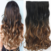 Women Fashion 24inch 60cm One Piece Clip in Hair Extention Ombre Colored Wavy Hair Extensions Natural Black to Dark Brown