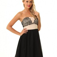 JD319 black/beige lace/chiffon dress with flare out skirt
